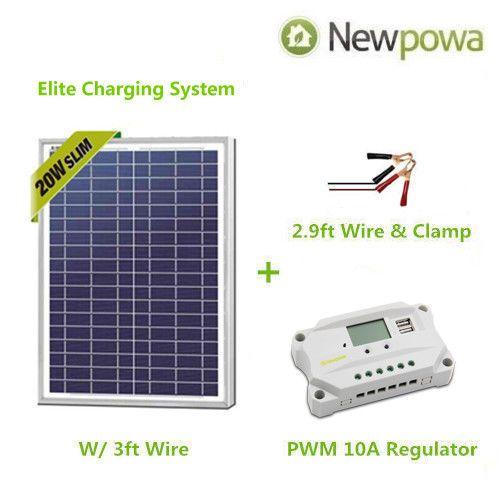 Newpowa 20w Watt 12v Solar Panel Pwm 10a Charge Controller Battery Charger Kit 12v Solar Panel Solar Kit Solar Panels
