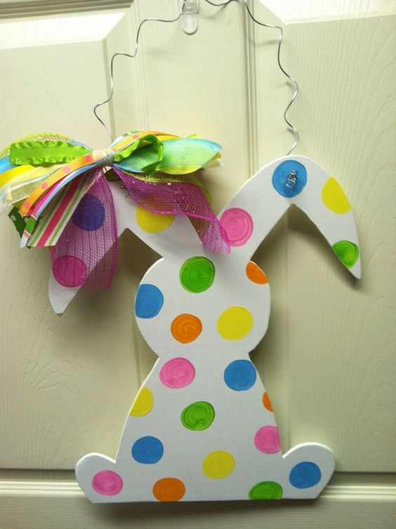 EASTER BUNNY Wood Door Hanger by SoStickyDesigns on Etsy, $30.00: