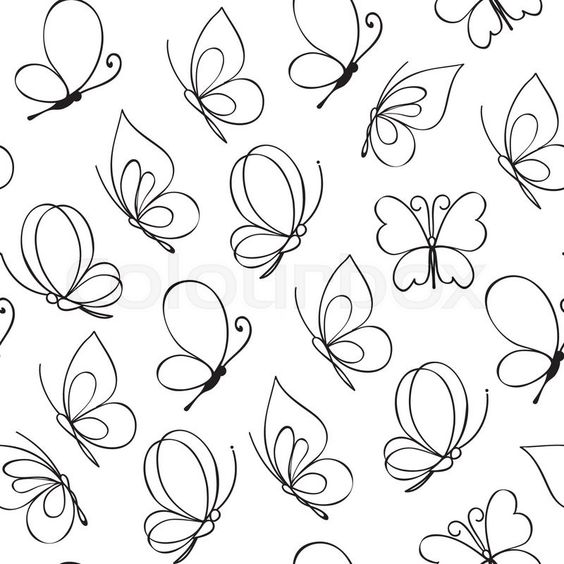 Hand drawn simple butterfly pattern. Vector illustration   Vector ...