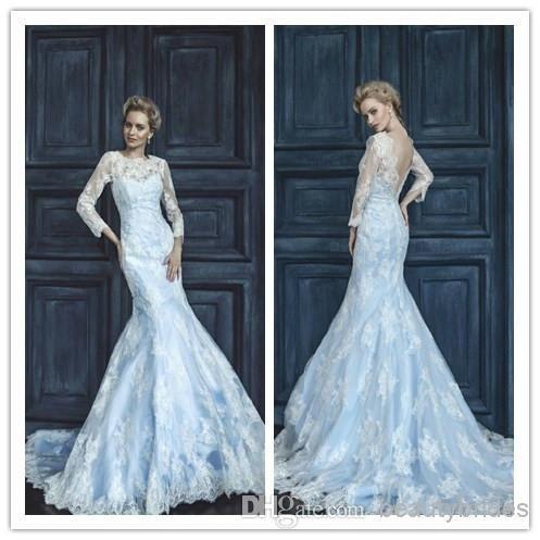 New Designed Light Sky Blue Lining Mermaid Sheer Lace Wedding ...