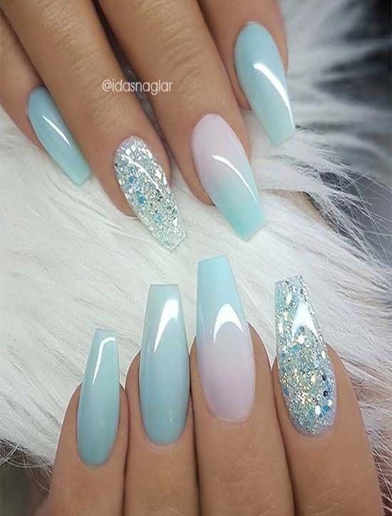 Pastel blue pink ombre nails fashion 2019