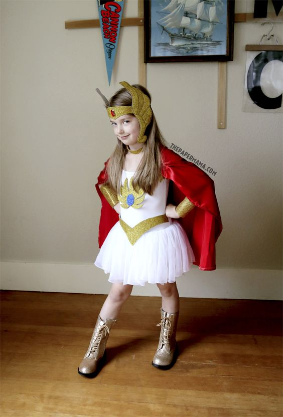 Halloween Costume Idea: She-ra Kids Costume DIY (with free pattern printable)! Yay for 80's cartoons!