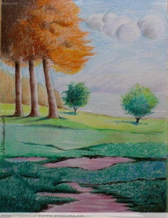 Dibujos de paisajes a lapiz de color buscar con google - Paisaje con colores calidos ...