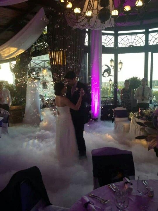 Dry ice on the dance floor for first dance!  Loke dancing on a cloud!