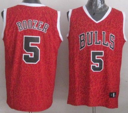 Chicago Bulls #5 Carlos Boozer Red Leopard Print Fashion Jersey
