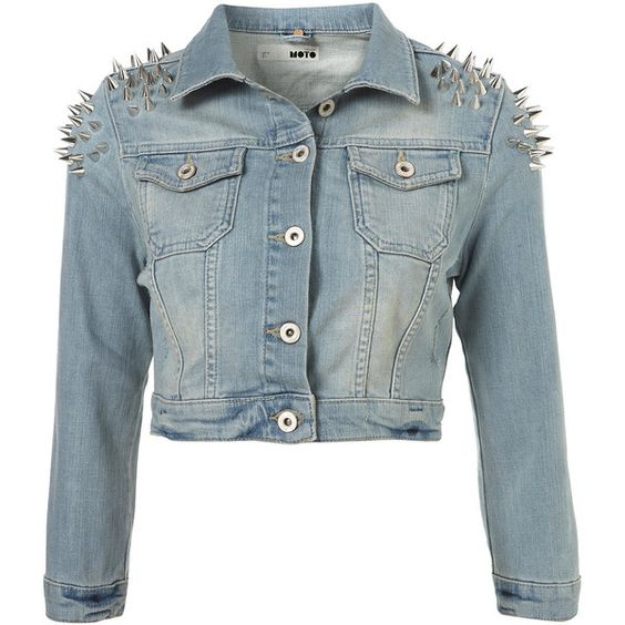 MOTO Shoulder Spike Jacket ❤ liked on Polyvore