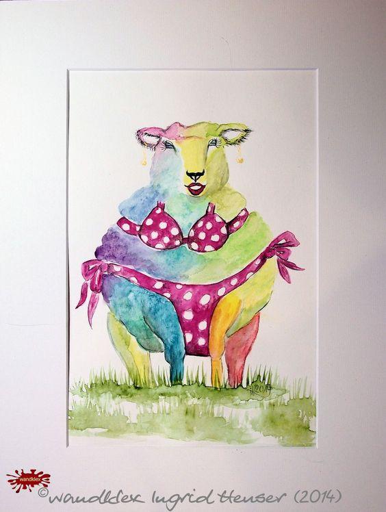 """No. 032 der wandklex-Unikatserie """"Ich war schon immer das Bunte Schaf der Familie"""" - nummerierte Einzelstücke! Ihr eigenes Schaf können Sie als Ihr Designerstück von wandklex® Ingrid Heuser, Ratzeburg, Germany bestellen:  im kleinen Klexshop bei DaWanda auf http://de.dawanda.com/shop/wandklex ©  Kunstatelier wandklex Ingrid Heuser, D-Ratzeburg Besuchen Sie mich auch auf facebook: https://www.facebook.com/wandklex"""