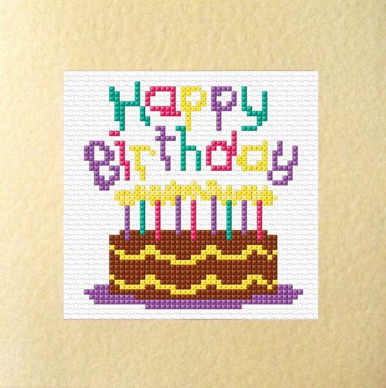 Cake Design Quot Happy Birthday Quot Cards Cross Stitch Kits 5