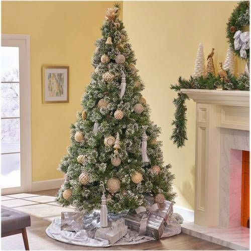 Noble House 7 5 Cashmere Mixed Needles Pre Lit Hinged Artificial Christmas Tree With Snow Glitter Branches With Frosted Pinecones Green Clear Lights 307333 In 2020 Artificial Christmas Tree Christmas Tree