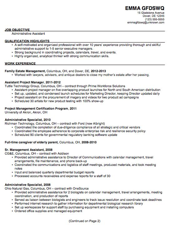 Chronological Example Resume for an Administrative Assistant-p1 - sample resume executive assistant