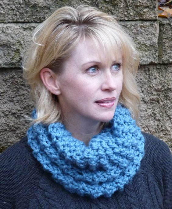 Ladies' Blue Knit Cowl by lovemyknits on Etsy