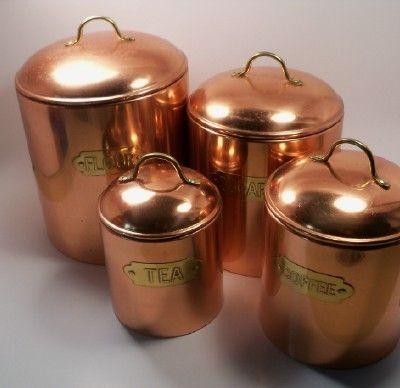 Vintage Copper Canister Set Of 4 Nesting Jars With Lids