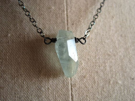 Aquamarine necklace sterling silver aquamarine by KahiliCreations, $38.00
