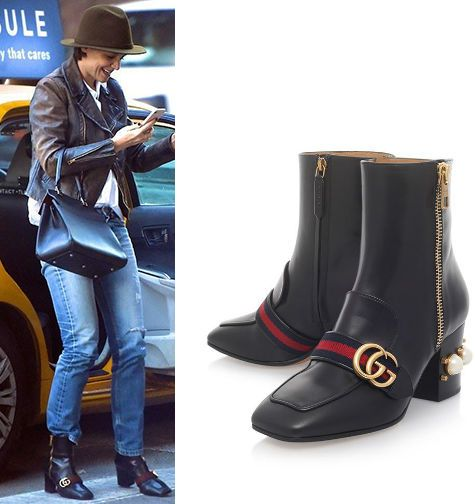 Katie Holmes Gucci Leather Peyton Ankle Boots 75 In 2020 Gucci Boots Gucci Leather Gucci