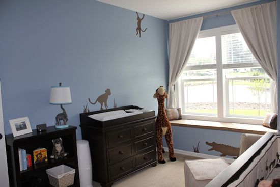 Brown Animal Silhouettes wall decals in jungle themed nursery @Sadie Barrientos!!!!!