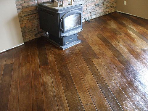 stained stamped concrete to look like wood floors house. Black Bedroom Furniture Sets. Home Design Ideas