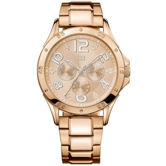 Tommy Hilfiger Watch, Women's Chronograph Rose Gold-Tone Stainless... ($124) ❤ liked on Polyvore featuring jewelry, watches, white watches, tommy hilfiger, tommy hilfiger watches, chrono watch and water resistant watches