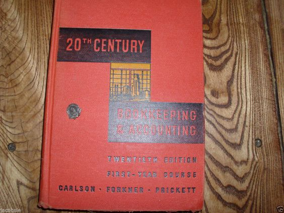 Vintage 1952 20th Century Bookkeeping School Textbook and Award Pin Set #Textbook