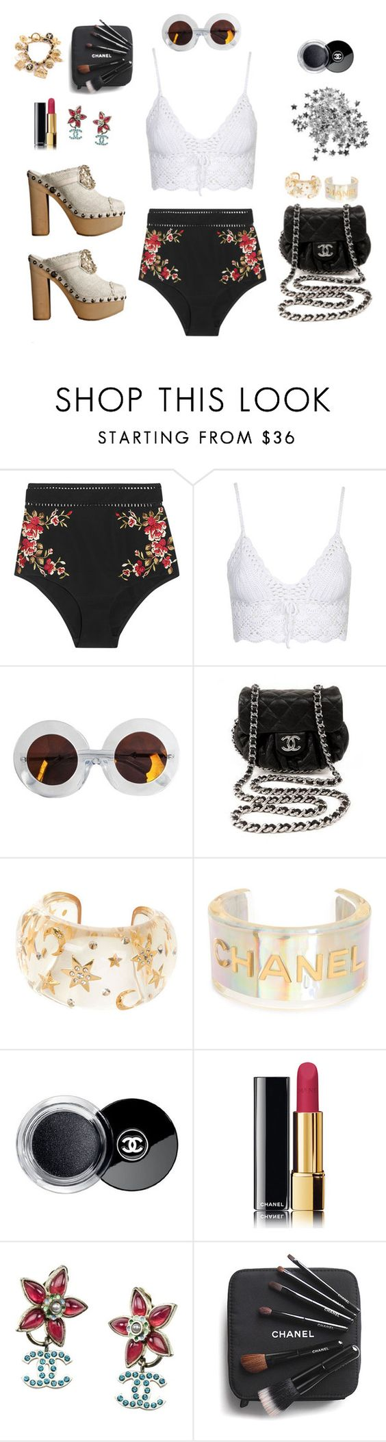 """Chanel Beach Bombshell"" by cloudwatcher101 ❤ liked on Polyvore featuring Zimmermann, Topshop, Karen Walker, Chanel and bombshell"