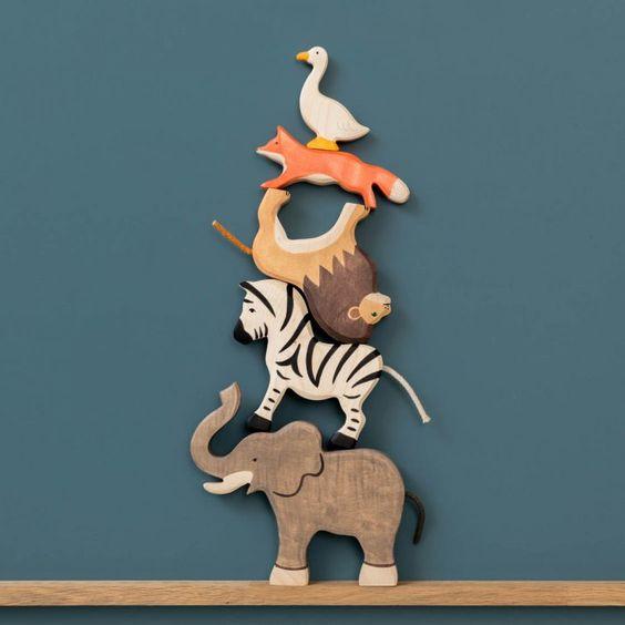 Animaux en bois Holztiger : Éléphant, zèbre, lion,renard, oie