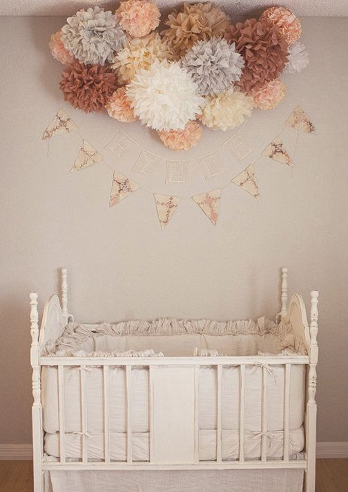 """peach & gray nursery...vintage crib & """"poms!""""... definitely don't have a baby, BUT this is lovely and such a sweet and simple idea for a little sweet pea    (If I were to create a """"secret board,"""" it would be filled with things like this...)"""