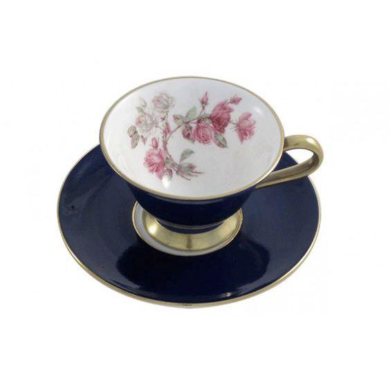 Aynsley Elizabeth Rose Mocca Tea Cup/ Saucer Blue