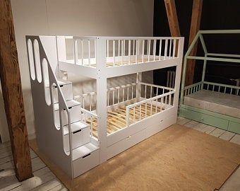 Twin Over Full Over Twin Trundle Solid Wood Bunk Bed With Stairs And Slide In 2021 Double Loft Beds Bunk Beds With Drawers Kids Loft Beds