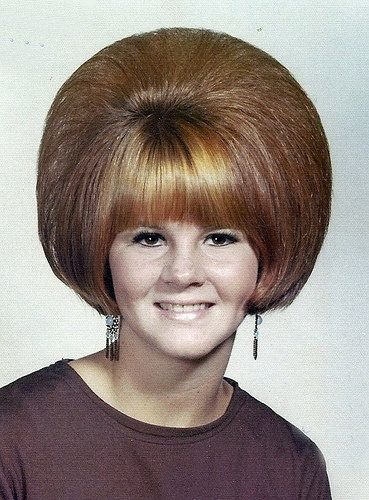 Helmet hair!!! Oh yeah, backcombing was in ~ 80's hair had nothing on the 60's!!!