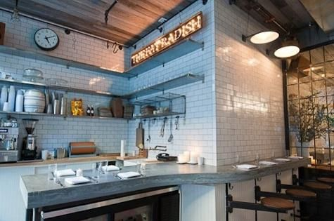 Restaurant Kitchen Walls outdoor/indoor at the fat radish in nyc | open shelving