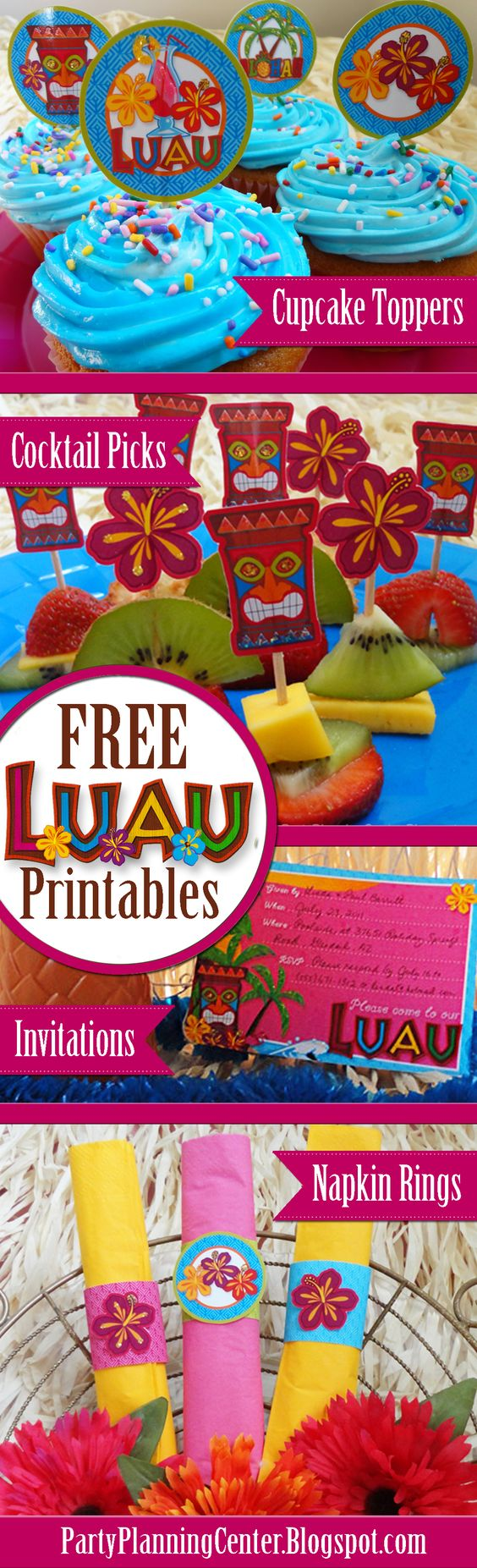 FREE Printable Luau Cupcake Toppers, Cocktail Picks, Invitations and Napkin Rings