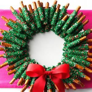 Chocolate-Dipped Pretzel Wreath Recipe -Give chocolate and pretzels the holiday treatment they deserve when you shape them as a wreath. Make one for the house and more to give away. —Shannon Roum, Milwaukee, Wisconsin:
