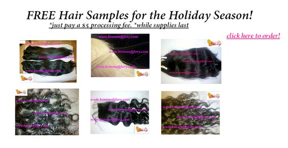 Get your FREE hair sample while supplies last!!! *$5 processing fee... http://www.krownofglory.com/free-hair-samples/