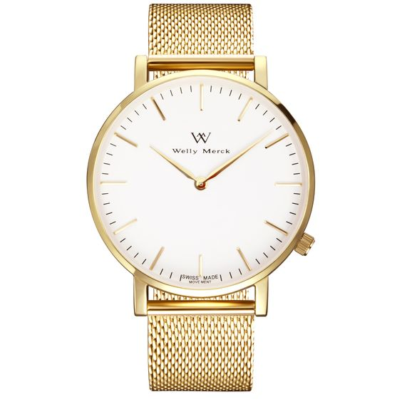 A round gold case with classically curved lugs,elegant hue, the gold hands match the case colors and underscore their prominent design,color-coordinated mesh strap, inimitable and upscale watch.: