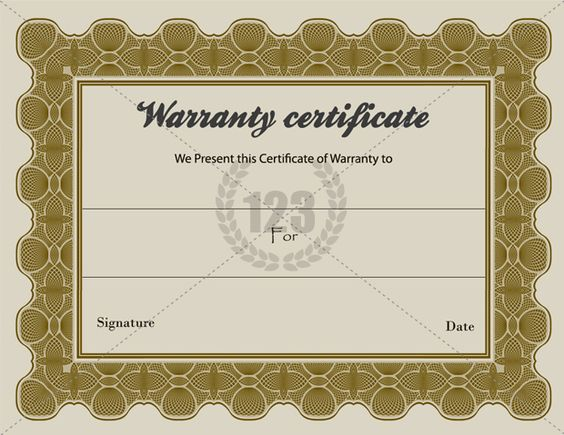 Special warranty certificate templates free 123certificate templates certificate template for Warranty certificate template