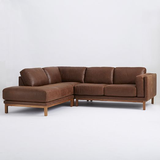 Dekalb 3 piece premium leather terminal chaise sectional for West elm sectional sofa leather
