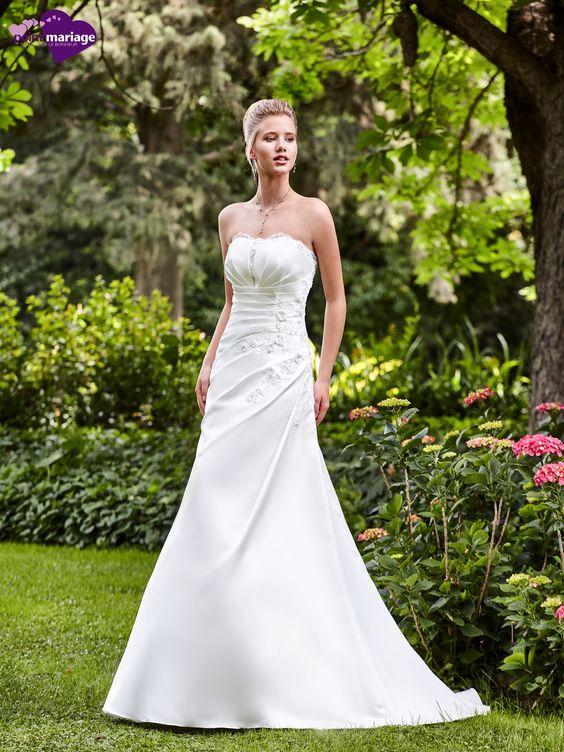 Robe de mariée Elisa, robe de mariée trapèze, robe de mariage application de…