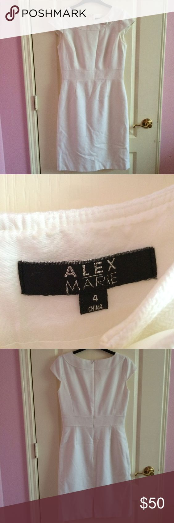 Alex Marie white dress Alex Marie white dress that is heavy, has short sleeves, a button at the top, and a small slit in the back. Size 4. Worn once but doesn't fit and in great condition. All items cheaper on merc. Alex Marie Dresses Midi