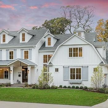 White Brick Home With Gray Roof Shingles Transitional Home Exterior White Brick Houses House Exterior Modern Farmhouse Exterior