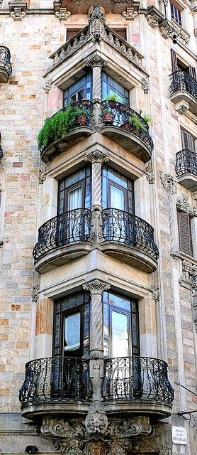 Classic Architecture Balconies Barcelona Via 13783050915