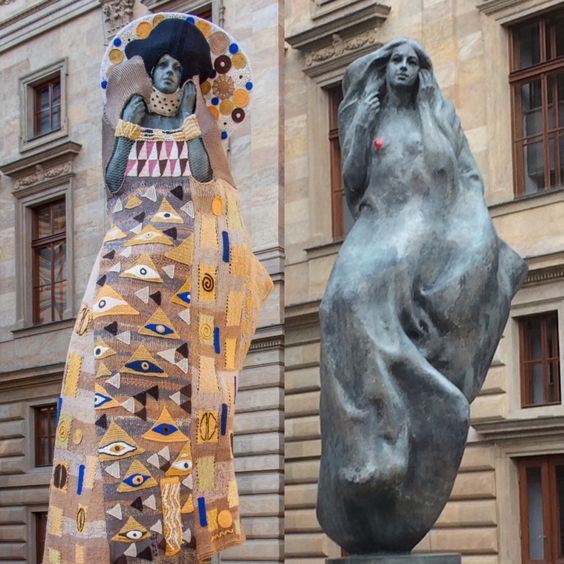 The sculpture with and without dress, Square of Václav Havel, Prague
