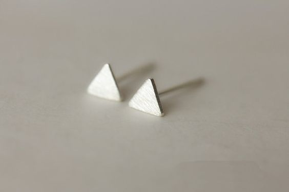 925 Sterling Silver Tiny Small Triangle Simple Cute Matte Hand-made Stud Earring on Etsy, $5.99