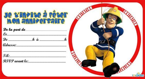 Invitations on pinterest - Decoration anniversaire sam le pompier ...