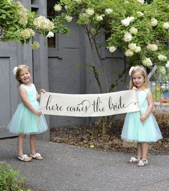 Here Comes The Bride Banner Burlap Scrollnull