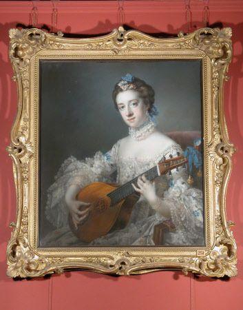 Anne Hoare, Mrs Richard Hoare (1737-1759) playing a Cittern: