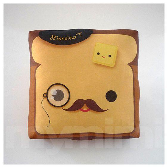 Movember, Decorative Pillow, Toast Pillow, French Toast, Kawaii Pillow, Mustache Pillow, Monocle ...