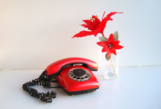 #Vintage red #Rotary #telephone USSR Soviet Table by DelicateRetro, $33.00