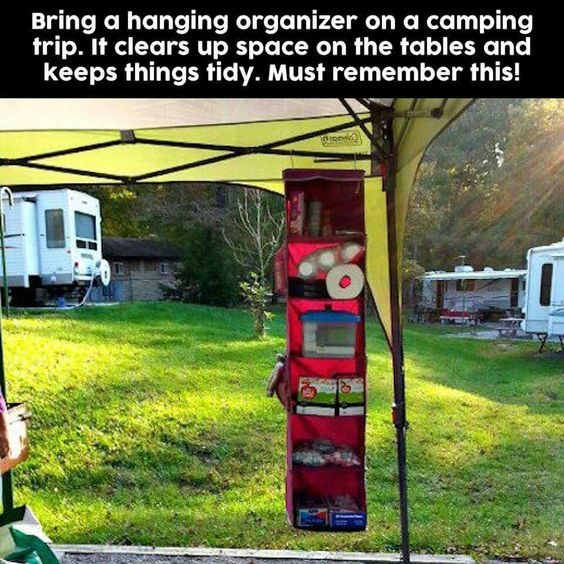 Bring a hanging organizer with when camping for keeping things neatly organized. This is a great idea!