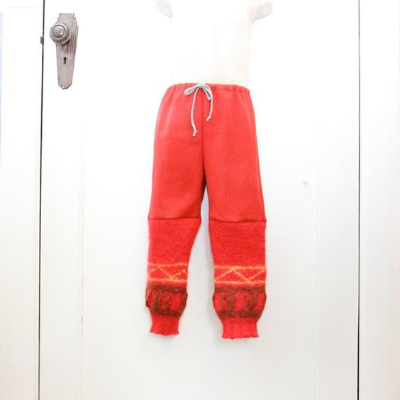 7-8yrs Red Wool Pants in Vintage Red Wool Felt by cobbledtogether, $50.00