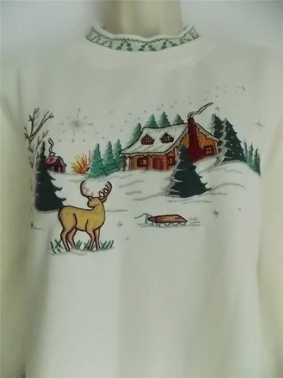 BOBBIE BROOKS Soft WINTER / CHRISTMAS Design TEE TOP SWEAT SHIRT size XL #bobbiebrooks #TEETOP