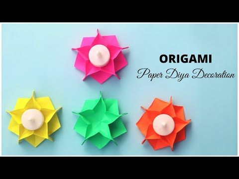 Origami Tea Light Candle Holder Paper Diya Decoration Origami Paper Flowers Youtube Origami Candle Holder Origami Candle Diy Candle Holders